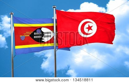 Swaziland flag with Tunisia flag, 3D rendering