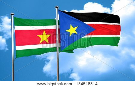 Suriname flag with South Sudan flag, 3D rendering