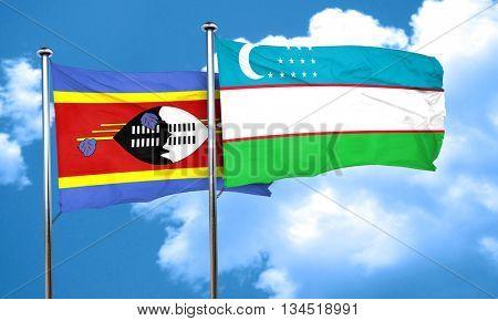 Swaziland flag with Uzbekistan flag, 3D rendering