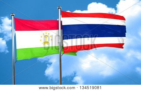 Tajikistan flag with Thailand flag, 3D rendering
