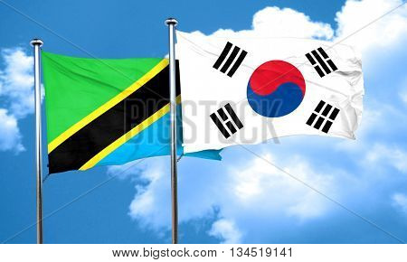 Tanzanian flag with South Korea flag, 3D rendering