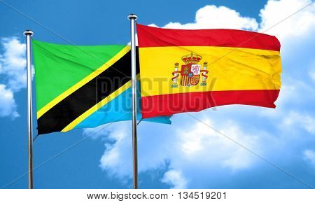 Tanzanian flag with Spain flag, 3D rendering