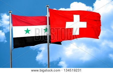 Syria flag with Switzerland flag, 3D rendering