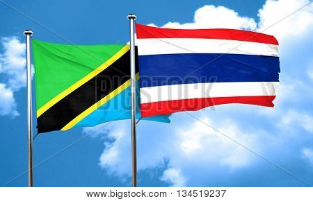 Tanzanian flag with Thailand flag, 3D rendering