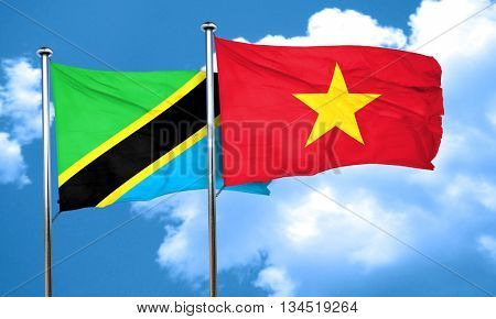 Tanzanian flag with Vietnam flag, 3D rendering