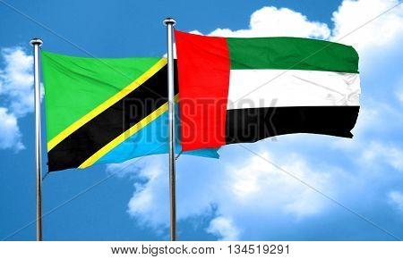 Tanzanian flag with UAE flag, 3D rendering