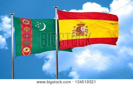 Turkmenistan flag with Spain flag, 3D rendering