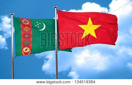 Turkmenistan flag with Vietnam flag, 3D rendering