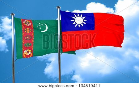 Turkmenistan flag with Taiwan flag, 3D rendering