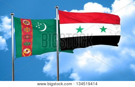 Turkmenistan flag with Syria flag, 3D rendering