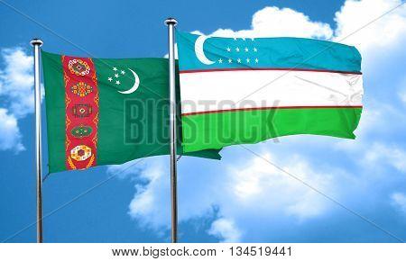 Turkmenistan flag with Uzbekistan flag, 3D rendering