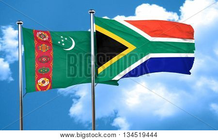 Turkmenistan flag with South Africa flag, 3D rendering