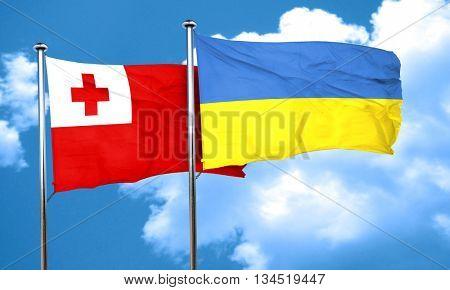 Tonga flag with Ukraine flag, 3D rendering