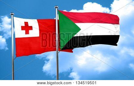 Tonga flag with Sudan flag, 3D rendering