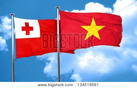 Tonga flag with Vietnam flag, 3D rendering
