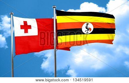 Tonga flag with Uganda flag, 3D rendering