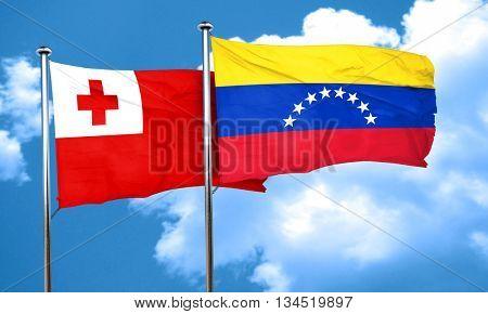 Tonga flag with Venezuela flag, 3D rendering