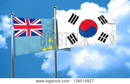 Tuvalu flag with South Korea flag, 3D rendering