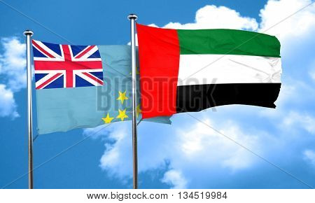 Tuvalu flag with UAE flag, 3D rendering