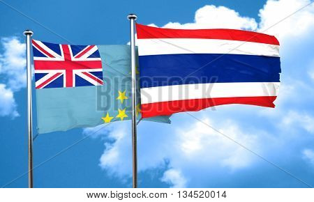 Tuvalu flag with Thailand flag, 3D rendering