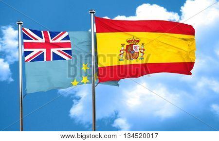 Tuvalu flag with Spain flag, 3D rendering