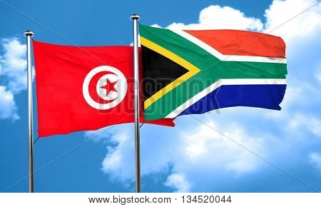 Tunesia flag with South Africa flag, 3D rendering