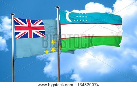 Tuvalu flag with Uzbekistan flag, 3D rendering
