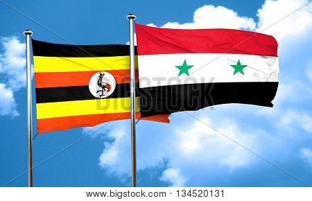Uganda flag with Syria flag, 3D rendering