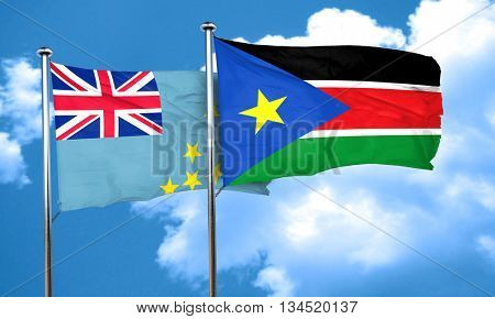 Tuvalu flag with South Sudan flag, 3D rendering