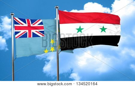 Tuvalu flag with Syria flag, 3D rendering