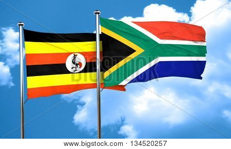Uganda flag with South Africa flag, 3D rendering