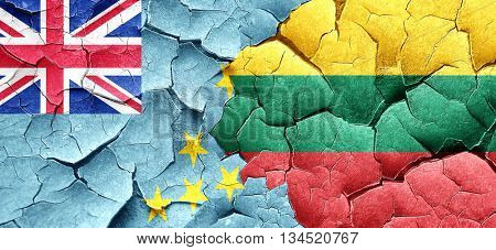 Tuvalu flag with Lithuania flag on a grunge cracked wall