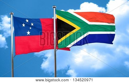 Samoa flag with South Africa flag, 3D rendering