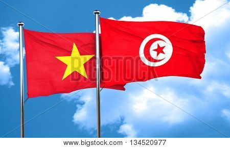 Vietnam flag with Tunisia flag, 3D rendering