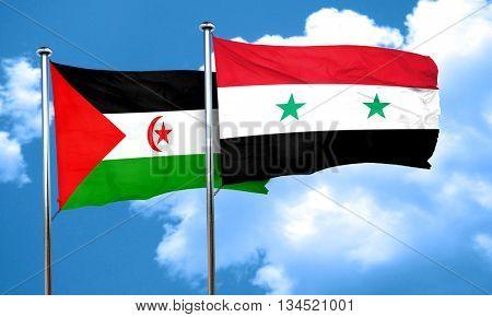 Western sahara flag with Syria flag, 3D rendering