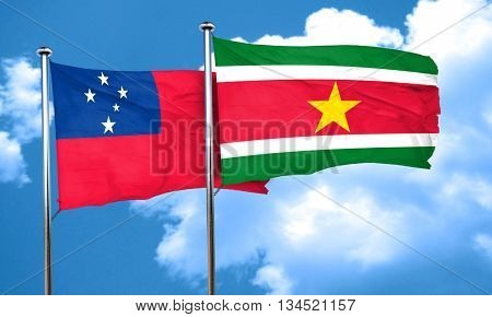 Samoa flag with Suriname flag, 3D rendering