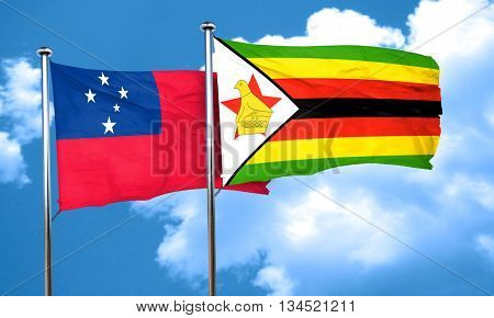 Samoa flag with Zimbabwe flag, 3D rendering