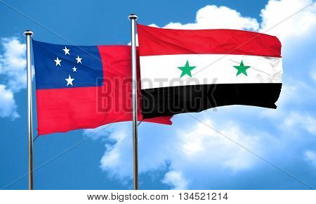 Samoa flag with Syria flag, 3D rendering
