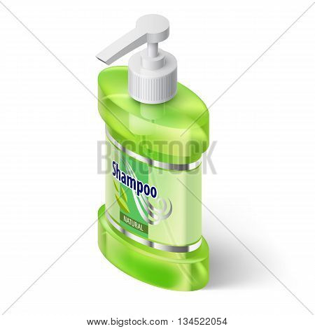 Green Liquid Soap Dispenser in Isometric Style on White Background