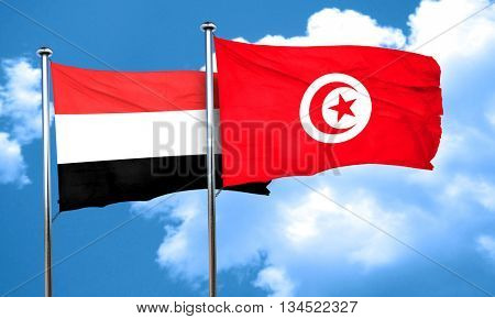 Yemen flag with Tunisia flag, 3D rendering