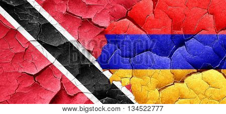 Trinidad and tobago flag with Armenia flag on a grunge cracked w
