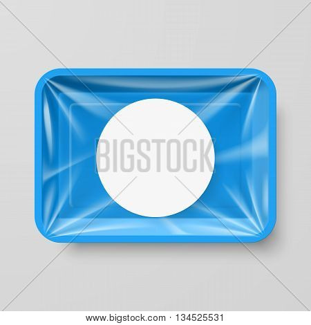 Empty Blue Plastic Food Container with Round Label