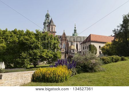 view on Wawel Royal Castle with Wawel Cathedral in Cracow Poiland