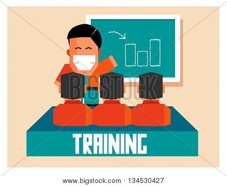 Training graphic. Flat vector illustration.