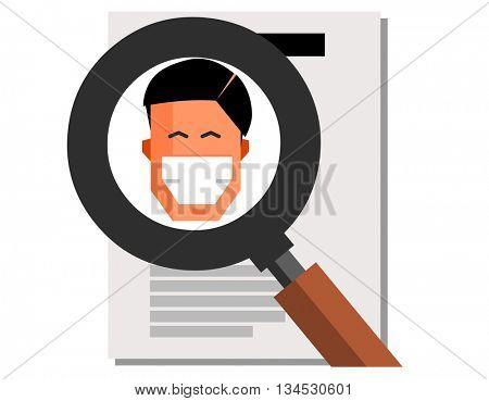 Headhunter graphic. Flat vector illustration.