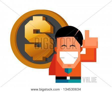 Value graphic. Flat vector illustration.