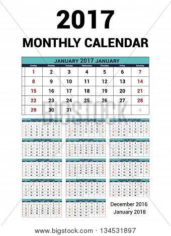 Calendar monthly for 2017 Year. Vector Stationery Design Print Template. Week Starts Sunday. 14Months - december 2016 - January 2018. Calendar 2017 grid.