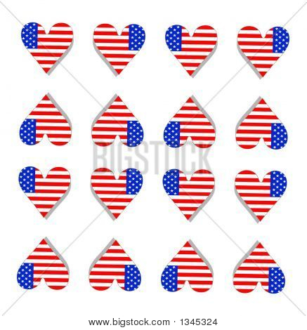 Red White And Blue Hearts Background