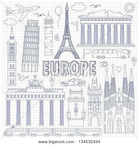 Europe Travel Set On Squared Background