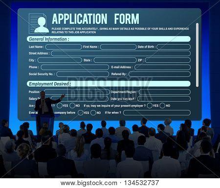 Online Web Job Application Form Concept